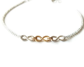 Gold Filled and Sterling Infinity Bracelet - Triple Infinity Bracelet - Everyday Bracelet - Wedding Jewelry - Two Toned