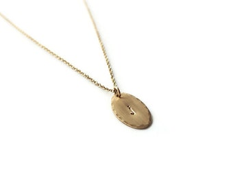 Personalized Gold Oval Necklace - Initial Gold Filled Necklace - Everyday Necklace - Hammered Necklace - Oval Disc Jewelry