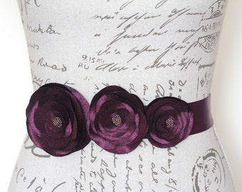 Aubergine Flower Belt, Eggplant Bridal Sash, Aubergine Wedding Accessories