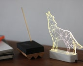 Modern concrete howling wolf lamp, Geometric LED lamp ,concrete table lamp, Animal night light, woodland decorative lamp