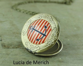 Nautical Locket Necklace - Gift For Traveler- World Map, Nautical Jewelry - Gift For Woman- mother's day gift