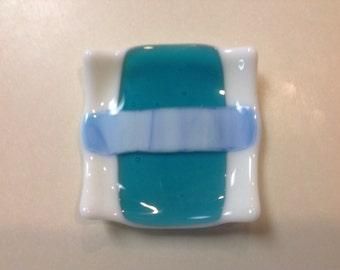 Blue & white fused glass coaster
