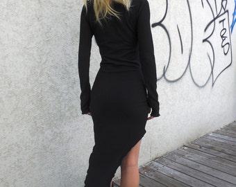 Black Sexy Dress,Long Sleeve Dress,Winter Dress,  Cowl Neck Dress, Thumb Holes,  Turtleneck Dress