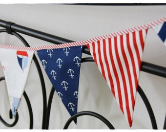 Marine Garland  Nautical- Bunting Banner . Flag Bunting . Pennant Banner . Flag Garland . Party Decoration . Fabric Bunting