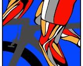 "Tour de France Cycling poster, illustration, painting, 11X17"""