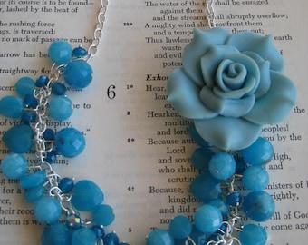 Swarovski Crystal and Stone Blue Flower Necklace
