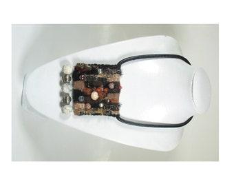 Woven Necklace,Artistic,Yarn,Unique, Weaving,Brown,Silver,Boho,Bohemian