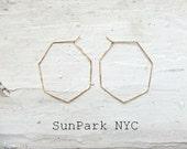 Delicate Geometric Hammered Heptagon Hoop Earring/Gold Earring/Silver Earring/Hoop/Gold delicate Hoop/Geometric Hoop/Heptagon Hoop/