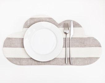 Kitchen Placemat, Cloud Placemat, Linen Kitchen Decor, Beige Placemat, Cloud Table Mats, Beige Home Decor, Kitchen Accessory for children