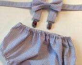 Gray Seersucker Diaper Cover Bowtie and Suspender Set/First Birthday Gray Seersucker Set/Baby Boy Gray Seersucker Diaper Cover Set