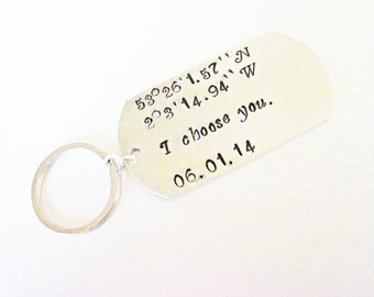 Latitude & Longitude Key Chain, Personalized Coordinates Custom Anniversary Wedding Couples Gift for Him or Her, Silver Alminium handstamped