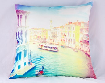 Venice decorative pillow, vintage shabby chic style Venezia, Italy, original photography pillow case for your home, pillow cover