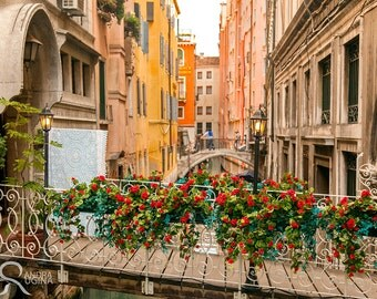 Travel Venice decor, Italy fine art print, travel photo, Venezia, canals and flowers photo to frame, streets of Venice wall art