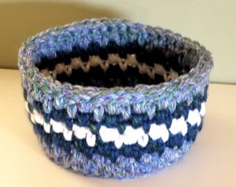 Large Handmade Baskets, Crocheted Storage Basket, Nursery Baby Boy Blue Gift, Nursery Basket, Yarn Storage Bowl