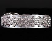 Platinum Pearl Leather Dog Collar with Swarovski Crystals