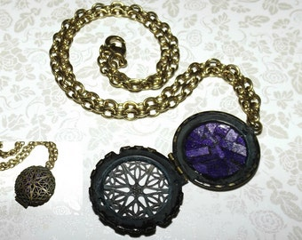 Shattered Antiqued Amethyst Mosaic Glass Locket Necklace
