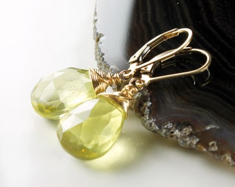 Lemon Quartz Earrings, Gold-filled wire wrapped earrings with yellow gemstone, gift for her, dangle earrings, lever back earrings, ER2796