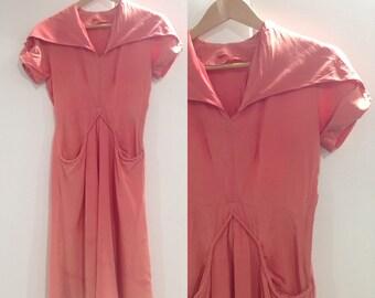 Coral 1930s Silk Evening Dress