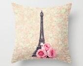 Pink pillow, Pillow cover, paris pillow, french pillow, french decor, rose pillow, girl nursery decor, flower pillow, Eiffel tower