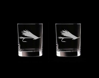 Personalized Fly Fishing (version 2) Double Old Fashioned Glasses Set of 2