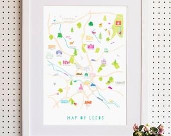 Map of Leeds Print