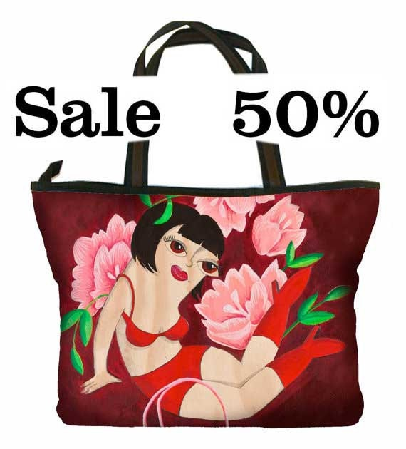 Large Handbag, pink flowers, boudoir girl, colourful, print, retro