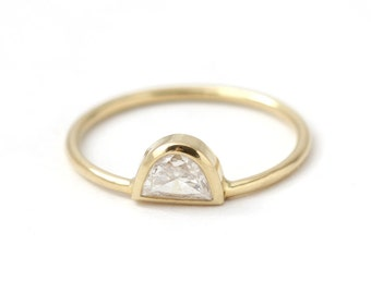 Simple Engagement Ring - Half Moon Diamond Ring -Moon Engagement Ring - 18k Solid Gold