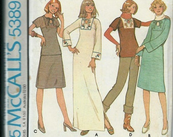 McCall's 5389 Carefree Dress or Top and Skirt Pattern, VTG 70's, Size 14 UNCUT