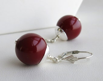 Sterling silver and deep red mother of pearl earrings