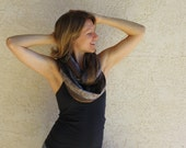 Up-cycled Circle Scarf - Grey and Brown - Pashmina - Winter Fashion - Infinity Scarf - Loop Scarf - Black and Grey - Charcoal