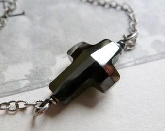 Sideways Crystal Cross Necklace / Silver Night / Graphite Gray / Christian / Faith / SimplyJoli