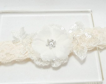Lace Garter, Wedding Garter, Bridal Garter, Wedding Garter Belt, Ivory Lace Garter, Floral Garter