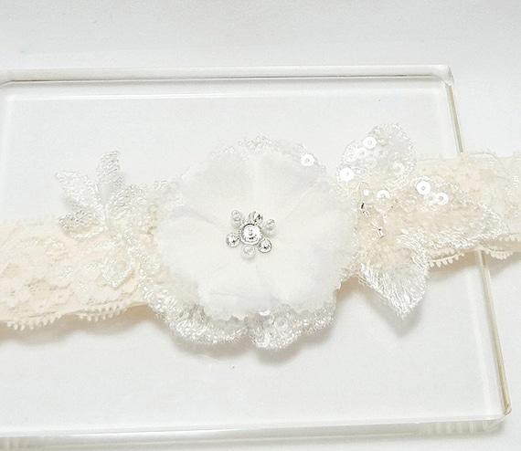 Lace Garter, Wedding Garter, Bridal Garter, Wedding Garter Belt, Ivory Lace Garter, Floral Garter