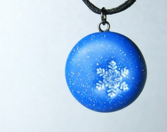 Frozen Snowflake Necklace, Polymer Clay Jewelry, Handmade Blue Glitter Snowflake Pendant