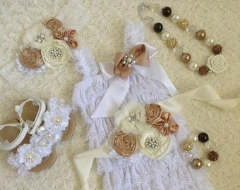Baby lace romper-Include Lace Romper, Sash belt and headband .