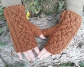 fingerless gloves cable knit in russet luxury blend, ready to ship