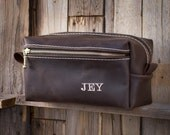 Custom HANDMADE Men's Leather Toiletry Case Dopp Kit Shaving Bag OOAK Present Groomsman Gift Wedding Groom Lifetime Leather Co Christmas