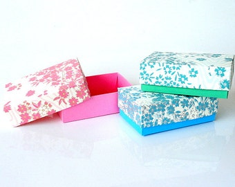 50 retail Packaging box, Gift box with Floral print on White, Jewelry Packaging Boxes, Wedding favor box