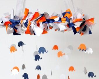 Elephant Mobile in Navy, Orange, Gray, & White- Nursery Mobile Decor, Baby Shower Gift