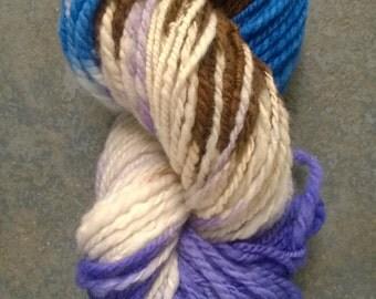 Handspun Yarn: Bulky 2 Ply Corriedale in Blue, Brown and Violet