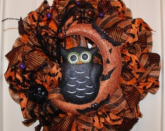 Halloween Wreath with a Super Cute Owl