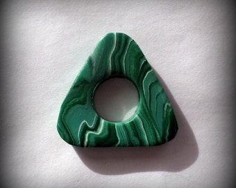 Handmade Polymer Clay Malachite Coraline Seeing Looking Stone Pendant