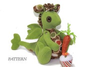 PATTERN PDF for Dragon with Cupcake & Carrot, using fleece fabrics, new or upcycled