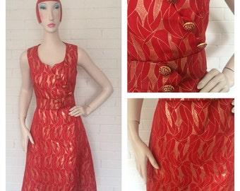 Vintage 1960s Mad Men Red Dress M