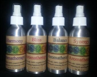 Aromatherapy Four Pack//Organic Aromatherapy//Organic Oils Aromatherapy//Synergy//Bliss//Harmony//Balance