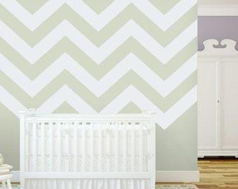 Chevron Stripes - Vinyl Wall Decal Sticker, Chevron Decal, Chevron Stickers, Chevron Wall Decor, Modern Nursery Decal, Wall Stripe Decal,