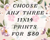 Any three 11x14 prints for 80.00 - discounted price - vintage style photography - nursery room and children's art