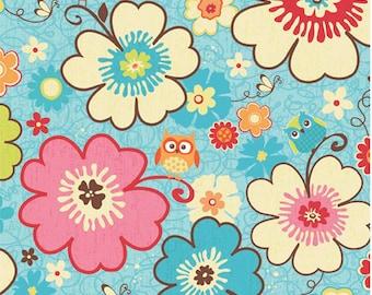 Happy Flappers  -  1 yard - Main Blue - Novelty Fabric  - Cotton Fabric - Riley Blake Designs - Owl Fabric