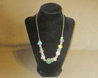 Pastel Glass Beaded Necklace