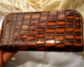 Vintage Alligator cosmetic case small Manly Plastic pull zipper